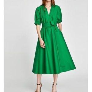 Zara green a line dress